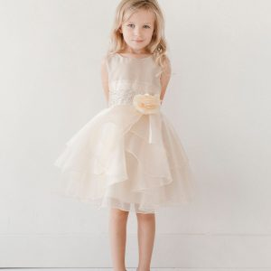 Layered Organza Ivory Girls Pageant Dress