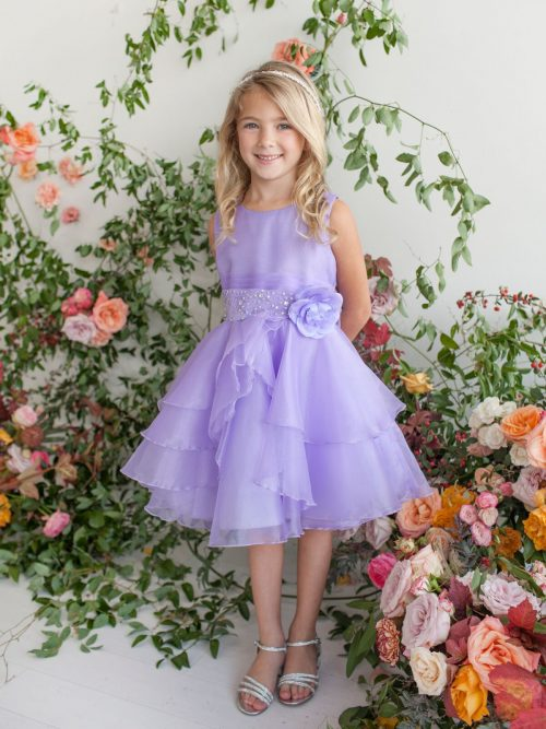 Layered Organza Lilac Girls Pageant Dress