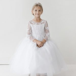 Lace Bodice First Communion Dress Long Sleeves