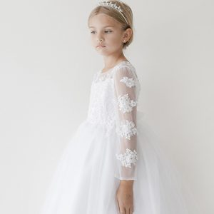 lace first holy communion dress long sleeevs