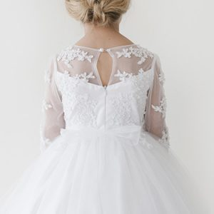sheer neckline lace first communion dress