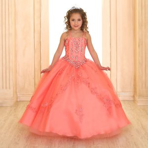 Beaded Girls Pageant Gown Coral