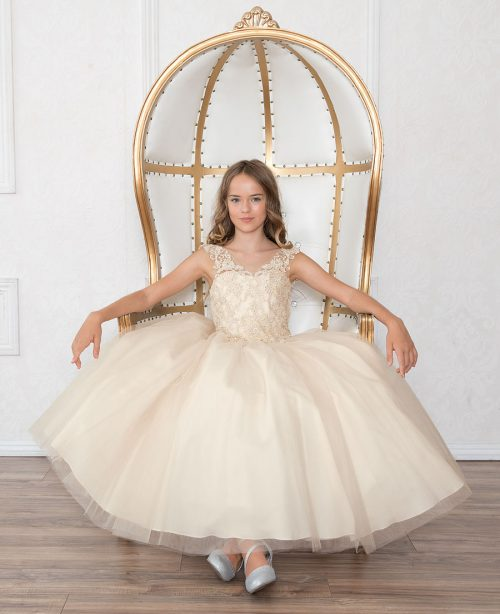 Beautiful Girls Beaded Prom Gown Champagne