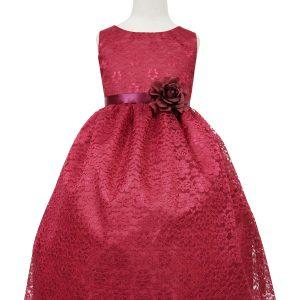 Burgundy Flower Girl Dress Floral Lace Overlay