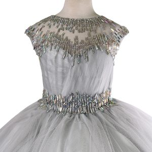 Cap Sleeve Girls Ball Gown Beaded Neckline Silver