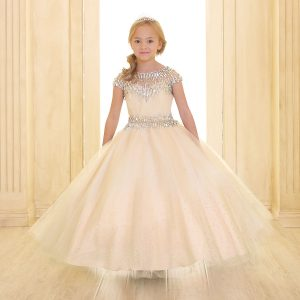 Cap Sleeve Girls Ball Gown Champagne