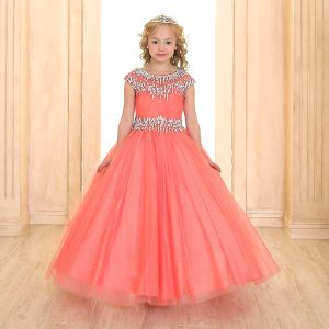 Cap Sleeve Girls Ball Gown Coral