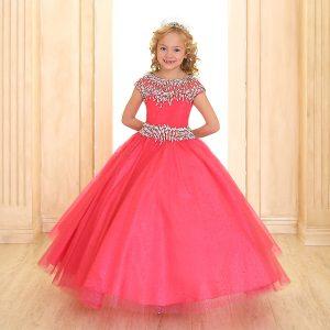 Cap Sleeve Girls Ball Gown Hot Pink