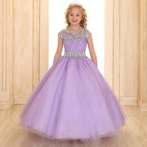 Cap Sleeve Girls Ball Gown Lilac