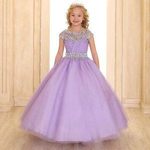 Cap Sleeve Girls Ball Gown Lilac