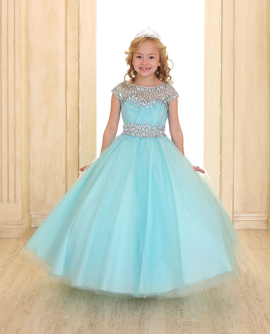 Girls Ball Gown with Cap Sleeves – FirstCommunions.com
