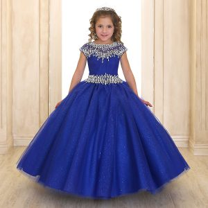 Cap Sleeve Girls Ball Gown Royal Blue