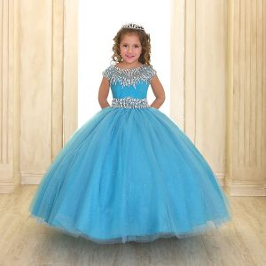 Cap Sleeve Girls Ball Gown Turquoise