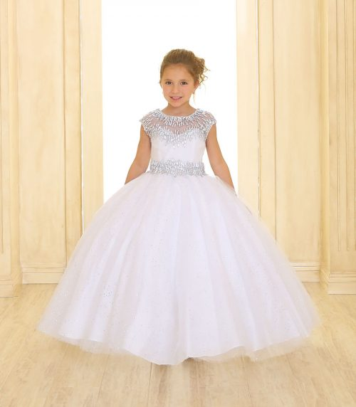 Cap Sleeve Girls Ball Gown White