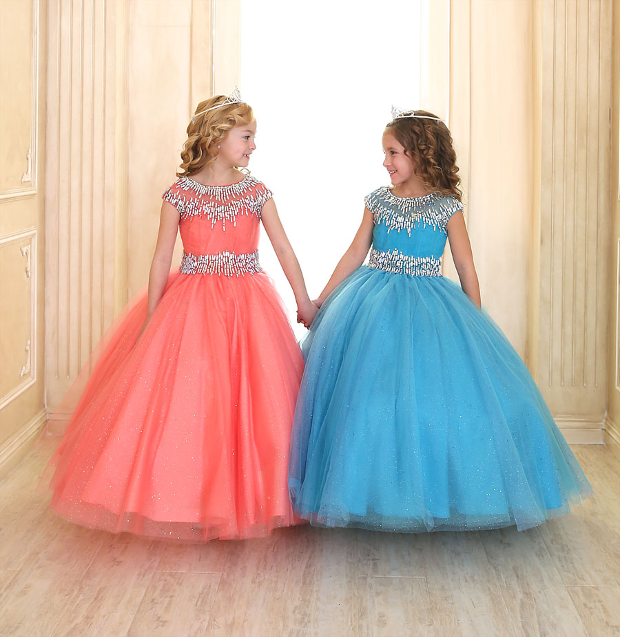 Cap Sleeve Girls Ball Gown