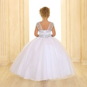 Cap Sleeve Girls First Communion or Pageant Ball Gown White