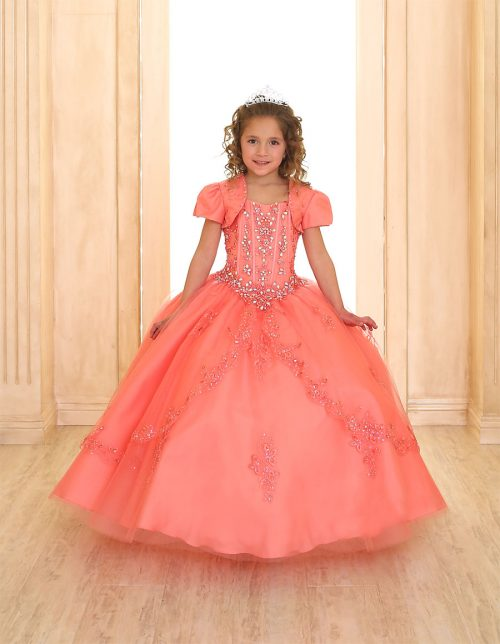 Coral Beaded Girls Pageant Dress with Embellished Beading