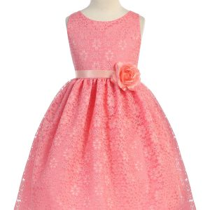 Coral Flower Girl Dress Floral Lace Overlay