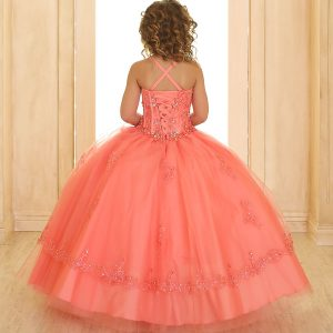Coral Girls Pageant Dress with Embellished Beading
