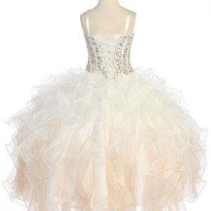 Crystal Champagne Sequin Bodice Ruffled Skirt Girls Pageant Dress