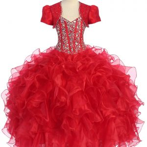 Crystal Red Sequin Bodice Ruffled Skirt Girls Pageant Dress