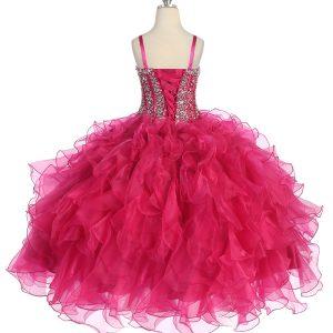 Crystal Sequin Bodice Fuschia Ruffled Skirt Girls Pageant Dress