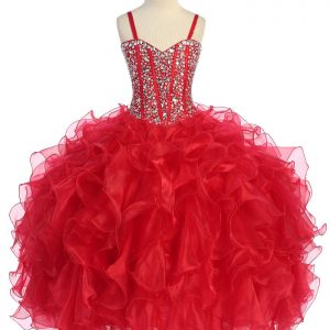 Crystal Sequin Bodice Red Ruffled Skirt Girls Pageant Dress