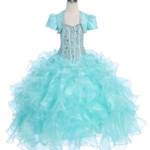 Crystal Sequin Bodice Ruffled Skirt Aqua Girls Pageant Dress