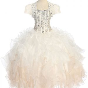 Crystal Sequin Bodice Ruffled Skirt Champagne Girls Pageant Dress