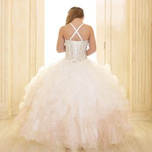 Crystal Sequin Bodice Ruffled Skirt Champagne Pageant Dress