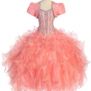 Crystal Sequin Bodice Ruffled Skirt Coral Girls Pageant Dress Coral