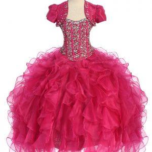 Crystal Sequin Bodice Ruffled Skirt Fuschia Girls Pageant Dress
