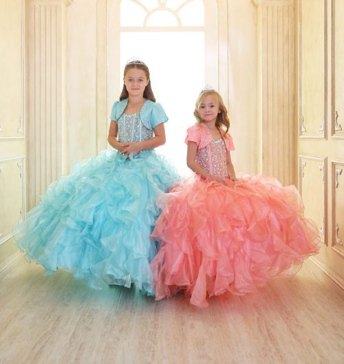 Crystal Sequin Bodice Ruffled Skirt Girls Pageant Dress