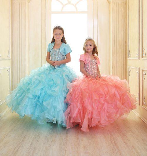 Crystal Sequin Bodice Ruffled Skirt Girls Pageant Dress