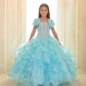 Crystal Sequin Bodice Ruffled Skirt Girls Pageant Dress Aqua