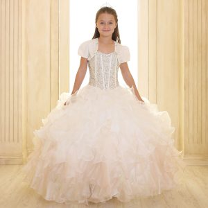 Crystal Sequin Bodice Ruffled Skirt Girls Pageant Dress Champagne