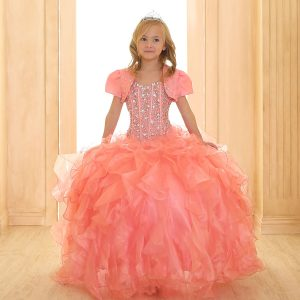 Crystal Sequin Bodice Ruffled Skirt Girls Pageant Dress Coral