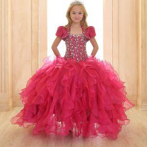 Crystal Sequin Bodice Ruffled Skirt Girls Pageant Dress Fuschia