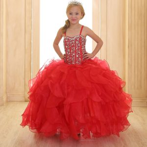 Crystal Sequin Bodice Ruffled Skirt Girls Pageant Dress Red