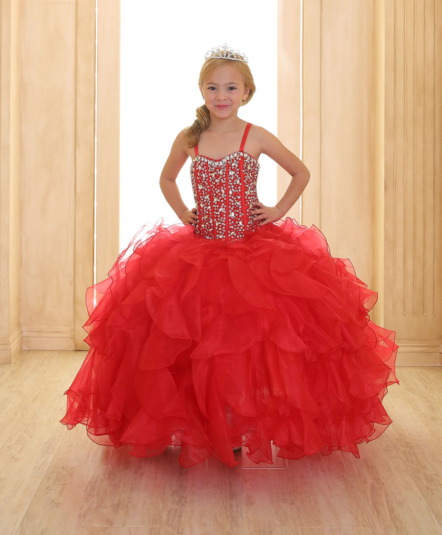 Girls Pageant Gown with Ruffled Skirt and Crystal Sequin Bodice ...