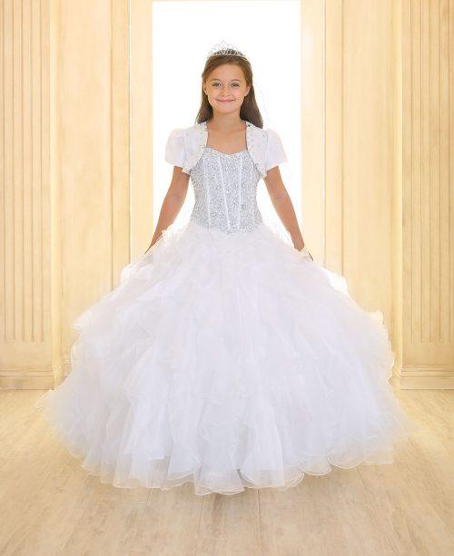 Crystal Sequin Bodice Ruffled Skirt Girls Pageant Dress White
