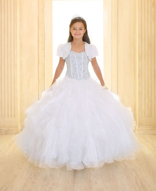 Crystal Sequin Bodice Ruffled Skirt Girls Pageant Dress White
