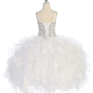 Crystal Sequin Bodice Ruffled Skirt White Pageant Dress