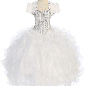 Crystal White Sequin Bodice Ruffled Skirt Girls Pageant Dress