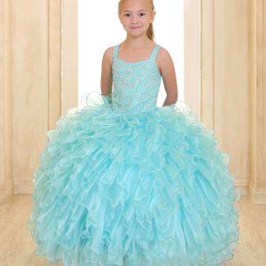 Embellished Bodice Aqua Organza Ruffled Girls Pageant Dress