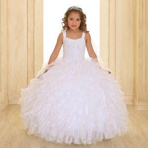 Embellished Bodice Organza Ruffled Girls First Communion Dress