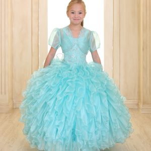 Embellished Bodice Aqua Organza Ruffled Girls Pageant Dress Bolero Jacket