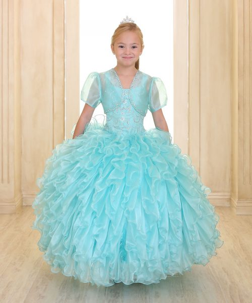 Embellished Bodice Aqua Organza Ruffled Girls Pageant Dress Bolero Jacket