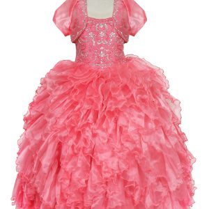 Embellished Bodice Organza Ruffled Girls Pageant Dress Coral