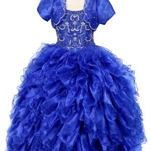Embellished Bodice Organza Ruffled Girls Pageant Dress Royal Blue